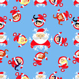 Seamless pattern. New Year`s Christmas holiday. Santa Claus,  and the elf in a circle watch  devushkasant up. an illustration  vec Royalty Free Stock Photography