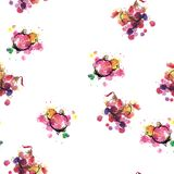 Seamless pattern of New Year`s toys - watercolor royalty free illustration