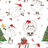 Seamless pattern of the New Year sheeps. Sketching seamless pattern of funny New Year sheeps vector illustration