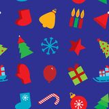 Seamless pattern new year snowflakes, socks,. Mittens, Christmas tree, gifts, sleigh, star, candle on dark blue background Stock Images
