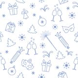 Seamless pattern with new year symbols. Gifts, firecrackers, fireworks, bead, glasses with champagne, bell, christmas tree, mask,. Calendar, stars, snowflakes vector illustration