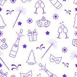 Seamless pattern with new year symbols. Gifts, fireworks, bottle and glasses with champagne, christmas tree, mask, stars, snowflakes Stock Illustration