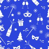 Seamless pattern with new year symbols. Gifts, fireworks, bottle and glasses with champagne, christmas tree, mask, stars, snowflakes vector illustration