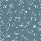 Seamless pattern with new year symbols. Gifts, fireworks, bottle and glasses with champagne, christmas tree, mask, stars, snowflakes royalty free illustration