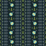 Seamless pattern of snowflakes, Christmas trees and balls. Seamless pattern with New Year symbols in retro colors. Snowflakes, Christmas trees and balls Royalty Free Stock Images