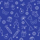 Seamless pattern with new year symbols. Gifts, firecrackers, fireworks, bead, glasses with champagne, bell, christmas tree, mask, calendar, stars, snowflakes stock illustration