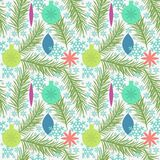 Seamless pattern. With new year toys Stock Photo
