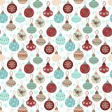 Seamless pattern for the New Year. Vector hand-drawn illustration of Christmas toys and blue snowflakes. Seamless pattern for the New Year. Vector hand-drawn vector illustration