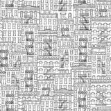 Seamless pattern of New York houses. Seamless pattern of New York style houses with fire escape stairs Stock Images