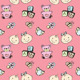 Seamless pattern of a newborn baby and children's items Royalty Free Stock Photography