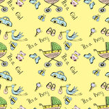 Seamless pattern of a newborn baby and children's items Royalty Free Stock Photo