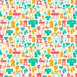 Seamless pattern with newborn baby icons Stock Photo