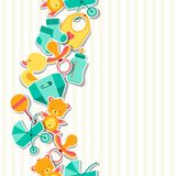 Seamless pattern with newborn baby stickers Royalty Free Stock Photos