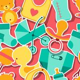 Seamless pattern with newborn baby stickers Stock Photos