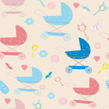 Seamless pattern for newborn baby with stroller and pacifier Royalty Free Stock Image
