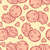 Seamless pattern with newborn little baby Royalty Free Stock Photo