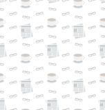 Seamless Pattern with Newspapers, Coffee and Eyeglasses, Flat Business Icons, Repeating Wallpaper Royalty Free Stock Photography