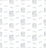 Seamless Pattern with Newspapers and Eyeglasses, Flat Business Icons, Repeating Backdrop Royalty Free Stock Photo