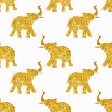 Seamless pattern with nice sunny abstract elephants of glitter. Their trunks raised up - good luck symbol Royalty Free Stock Photos