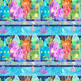 Seamless pattern with night city map,road,park,river and boat. Stock Photo