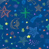 Seamless pattern with night sky and colorful hand Royalty Free Stock Image