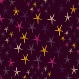 Seamless pattern with night sky and colorful hand drawn doodle stars.  Endless dark backdrop. Vector illustration. Royalty Free Stock Image