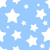 Seamless pattern with night sky and stars. Blue seamless pattern with night sky and white cartoon stars vector illustration