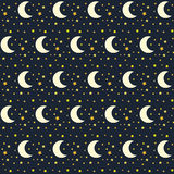 Seamless pattern of night sky with stars and moon Royalty Free Stock Photo