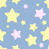 Seamless pattern with night sky and stars. Pastel blue seamless pattern with night sky and pink and yellow cartoon stars royalty free illustration