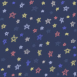 Seamless pattern with night sky and stars. Vector background. Stock Image