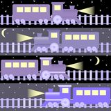 Seamless pattern with night trains Royalty Free Stock Photos