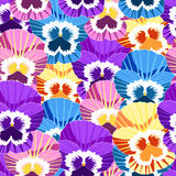Seamless pattern with no gaps violet flowers of pansies. vector Stock Photos
