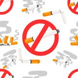 Seamless pattern of no smoking forbidden signs with flat cigarette with smoke  illustration on white background website page. And mobile app design Royalty Free Stock Photo