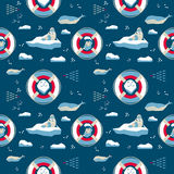 Seamless pattern in nordic style. Seal and captain Royalty Free Stock Images