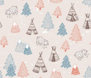 Seamless pattern with North American Indian tipi homes with tribal ornament, elements of forest and mountains, bear. Stock Photos