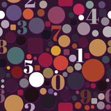 Seamless Pattern with Numbers and Circles Royalty Free Stock Photography