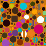 Seamless Pattern with Numbers and Circles Stock Images
