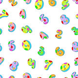 Seamless pattern numbers. Colored numbers. On a white background  illustration Stock Photo