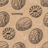 Seamless pattern with nutmeg on a vintage background Stock Photography