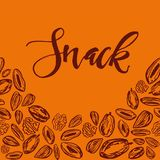 Seamless background with nuts and dried fruits. Vector illustration. Seamless pattern with nuts and dried fruits on orange background. Vector illustration royalty free illustration
