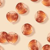 Seamless pattern with nuts 3 Royalty Free Stock Photo