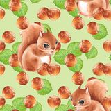 Seamless pattern with nuts and squirrel Stock Photo