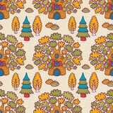 Seamless pattern with oaks Stock Image