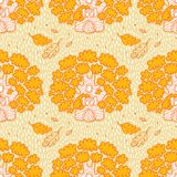 Seamless pattern with oaks on a yellow background royalty free stock images