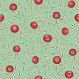 Seamless Pattern with Oat Flakes and Cranberry. On a Turquoise Background vector illustration
