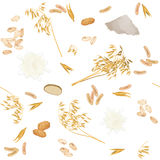 Seamless pattern with oat foodstuff. There are oat ears, milk, bread, cookies, grains, flour and flakes Royalty Free Stock Image