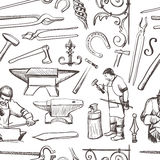 Seamless pattern with objects on blacksmith theme. With horseshoe, sledgehammer, vise, oven for your design Royalty Free Stock Images