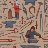 Seamless pattern with objects on blacksmith theme Royalty Free Stock Photography