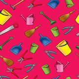 Seamless pattern of objects for cleaning and home repair Royalty Free Stock Photos