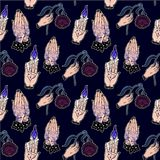 Seamless pattern of occult flash tattoo elements. Seamless pattern of occult witchcraft, magic, eerie, gothic style classic flash tattoo elements. Design for Stock Photo